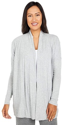 bobi Los Angeles Lightweight Jersey Cardigan (Heather Grey) Women's Clothing