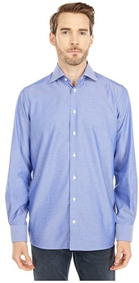 Eton Contemporary Fit Diamond Weave Twill Shirt (Blue) Men's Clothing