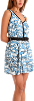 Charlotte Ronson Overlap Pleated Tank Dress w/ Black Braided Belt