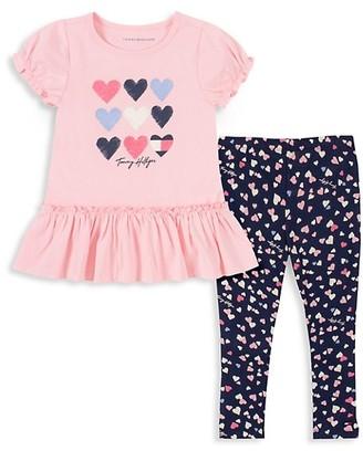 Tommy Hilfiger Baby Girl's 2-Piece Heart-Print Peplum Top Leggings Set