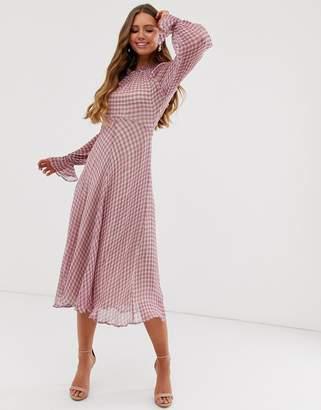 Ghost Ayesha high neck check print georgette midi dress-Pink