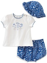 Absorba Girls' Pretty As a Flower Tee, Shorts & Hat Set - Baby