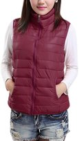 uxcell Women Stand Collar Sleeveless Zip Closure Quilted Padded Vest