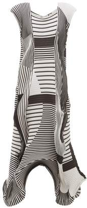 Issey Miyake Asymmetric Pleated Striped-twill Midi Dress - Womens - Black White
