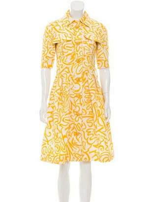 Oscar de la Renta Printed A-Line Dress Yellow