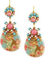 Jose & Maria Barrera Floral Découpage Teardrop Earrings, Pink Multi