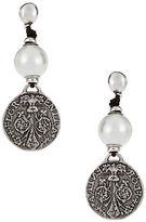 Uno de 50 Faux Pearl and Metal Drop Earrings