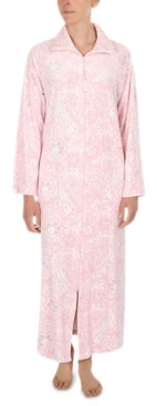 Miss Elaine Printed Luxe Fleece Long Zipper Robe