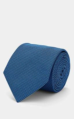 Barneys New York Men's Diamond-Dot Textured Silk Necktie - Blue