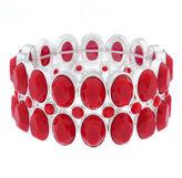 Liz Claiborne Red Stone Silver-Tone Stretch Bracelet