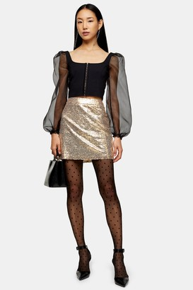 Topshop Gold Sequin Mini Skirt
