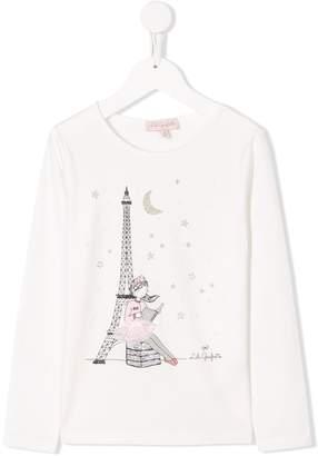 Lili Gaufrette Eiffel tower ballerina print T-shirt