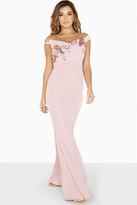 Little Mistress Diana Sequin Mesh Bardot Dress