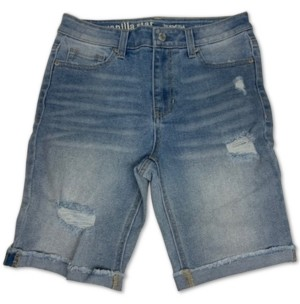 Vanilla Star Juniors' High Rise Distressed Cotton Denim Bermuda Shorts