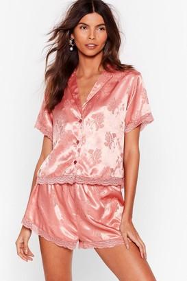 Nasty Gal Womens Floral Jacquard Satin + Lace PJ Short Set - Pink - 8