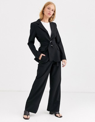 And other stories & wide leg tailored pants in black