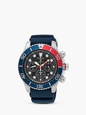 Seiko SSC663P1 Men's Prospex Divers Solar Chronograph Date Silicone Strap Watch, Navy/Black