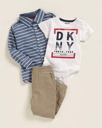 DKNY Newborn Boys) 3-Piece Graphic Bodysuit & Jogger Set