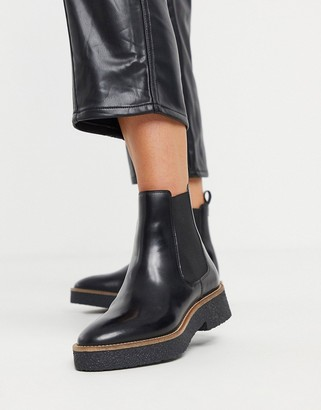 And other stories & leather crepe sole heeled chelsea boots in black