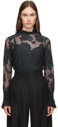 See by Chloe Navy Floral Mesh Blouse
