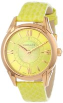 "Versace Women's ""Dafne"" Rose Gold Ion-Plated Stainless Steel Dress Watch with Leather Band"