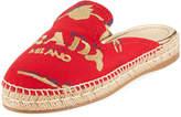 Prada Logo Fabric Espadrille Mule