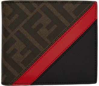 Fendi Black and Red Forever Bifold Wallet