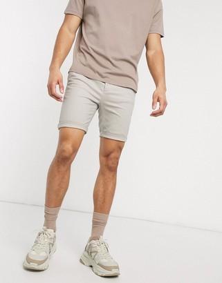 ASOS DESIGN super skinny chino shorts in beige