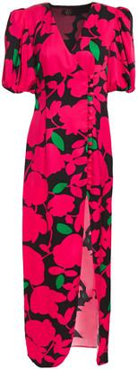 De La Vali Printed Satin Maxi Dress