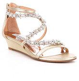 Badgley Mischka Belvedere Demi Wedge Satin Stone Embellished Dress Sandals