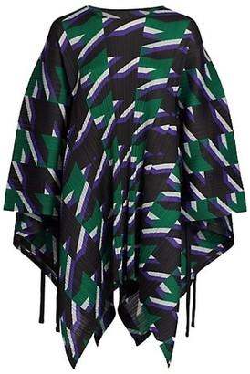 Pleats Please Issey Miyake Shooting Star Print Pleated Poncho Tunic