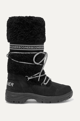 Bogner Alta Badia Logo-print Shearling And Suede Snow Boots - Black