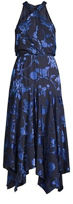 Parker Black Sierra Floral Halter Handkerchief Dress