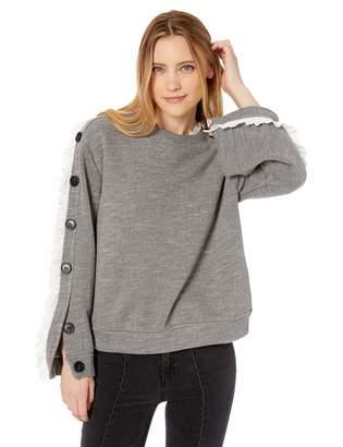 Moon River Women's Lace Trimmed Sweatshirt