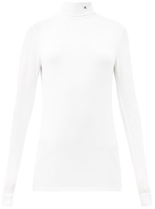 Raf Simons Aw98 Roll-neck Logo-embroidered Modal-blend Top - White