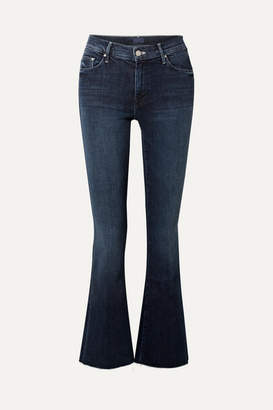 Mother The Weekender Fray High-rise Flared Jeans - Dark denim