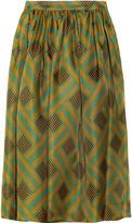 Belle printed silk-gazar midi-skirt
