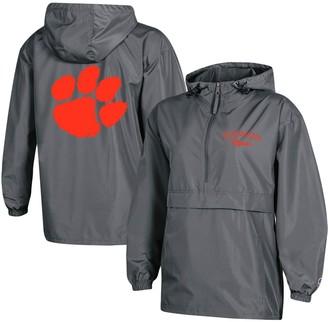 Champion Women's Charcoal Clemson Tigers Packable Half-Zip Light Rain Jacket