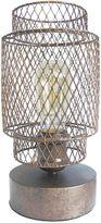 Vintage Metal Cage Table Lamp in Rust