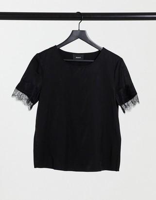 Object Eileen lace trim slinky top in black