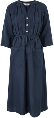 Marks and Spencer Linen Midaxi Waisted Dress