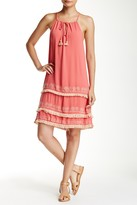 Love Stitch Embroidered Layered Hem Sleeveless Dress
