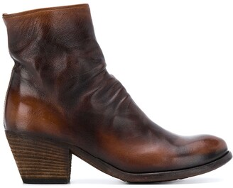 Officine Creative Giselle ruched ankle boots