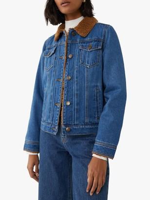 Warehouse Teddy Lined Denim Jacket, Mid Wash Denim