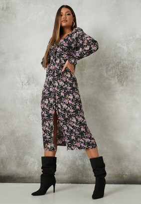 Missguided Black Floral Print Button Through Milkmaid Midi Dress