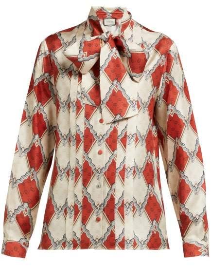 Gucci Snake Rhombus Print Silk Twill Blouse - Womens - Red Multi