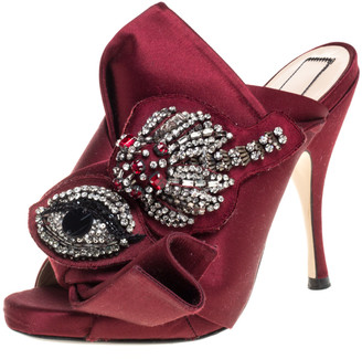 N°21 N21 Maroon Embellished Satin Knot Mules Sandals Size 36
