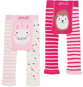 Joules Baby Lively Footless Mouse Leggings, Pack of 2, Pink