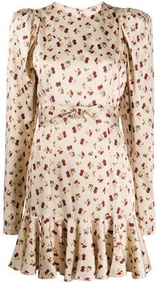 Rotate by Birger Christensen Raspberrry-Print Satin Dress