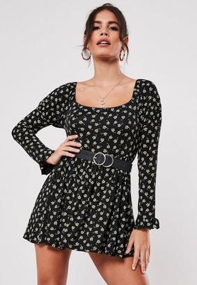 Missguided Petite Black Winter Floral Print Milkmaid Mini Dress
